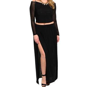 Womens Skirt Set Off Shoulder Slit Skirt